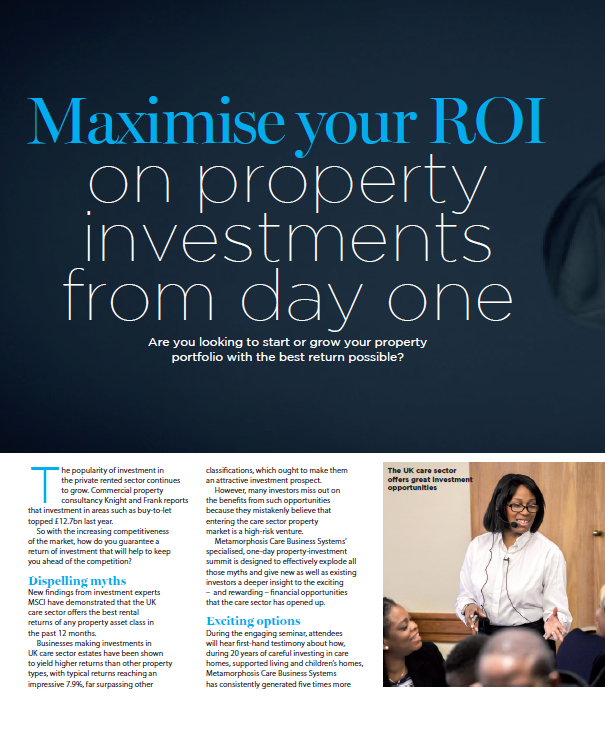 Care Home Investment Property - Maximise your Return on Investment (ROI)